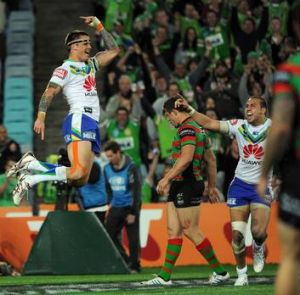Sandor Earl celebrates a try during the Raiders v South Sydney semi final.