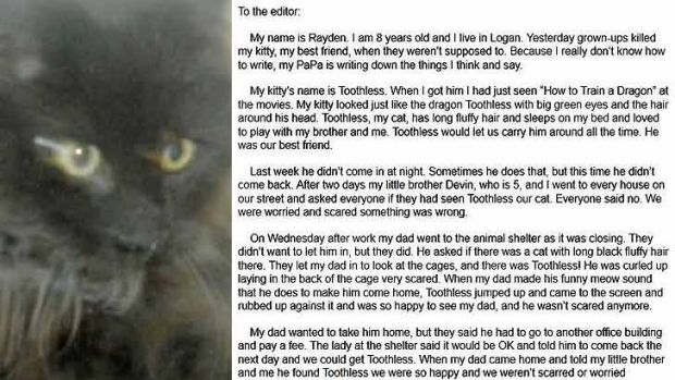 Rayden Sazama told his story about the death of his cat Toothless in a letter to a newspaper.