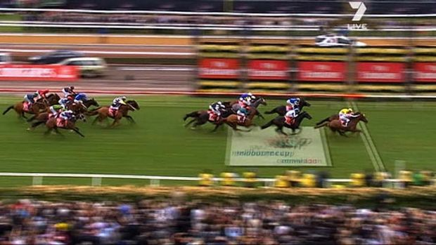 The finish of the 2011 Melbourne Cup. Very few of the pictured horses were Australian-bred.
