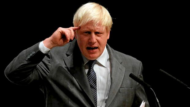 Mayor of London Boris Johnson speaks at a rally at the Conservative Party conference in Birmingham.