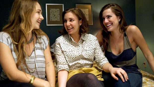 Strength to strength ... Lena Dunham (centre) with <i>Girls</i> co-stars Jemima Kirke and Alison Williams.