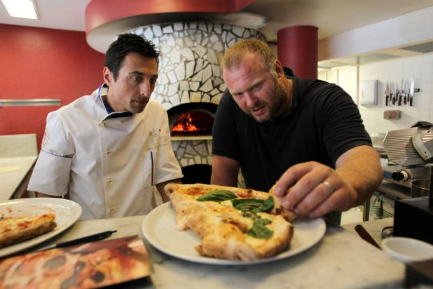 Gabriele Bonci with Lucio De Falco at Lucio Pizzeria, Darlinghurst.