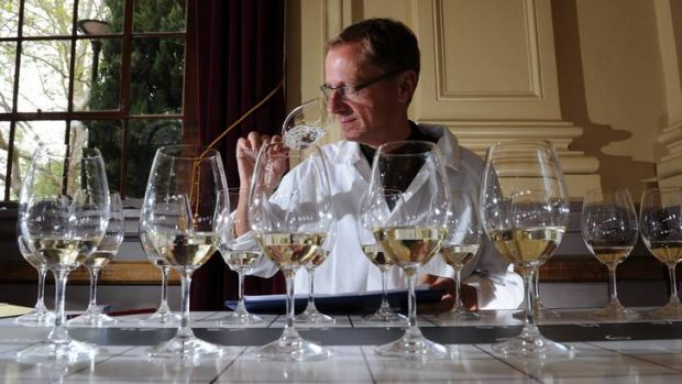 Up early... international wine judge from Germany, Steffen Schindler, samples some entries.