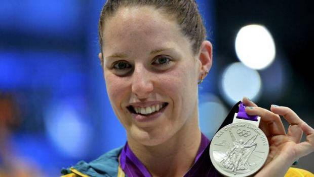 Australia's Alicia Coutts holds her silver medal during the women's 200m individual medley victory ceremony at the ...