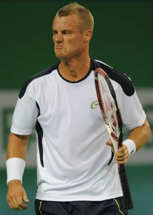 Lleyton Hewitt during his first-round match against Radek Stepanek.