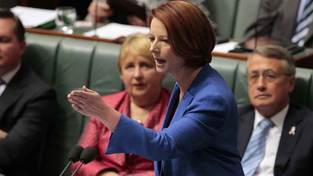 No holding back ... Prime Minister Julia Gillard replies to Opposition Leader Tony Abbott's motion to dismiss the ...
