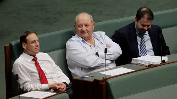 Offer to Labor ... Liberal National MP Alex Somlyay, centre, in Parliament House.