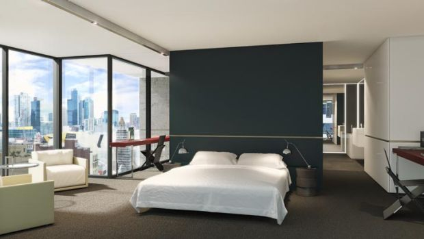 An artist's impression of a bedroom in the new tower.
