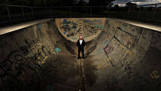 'Ride within your ability'... President of the Canberra Skateboarders Association Luke Brown, at the historic Kambah u-pipe.