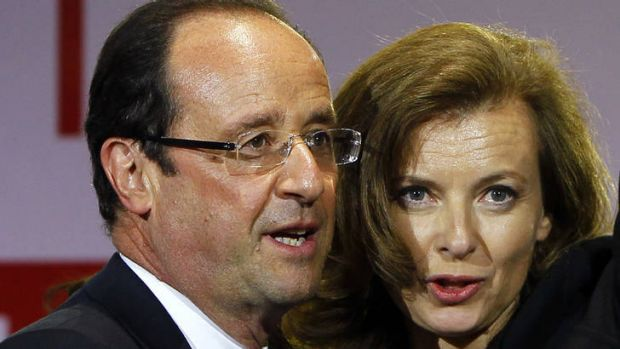 Messy love life ... Francois Hollande with his companion, Valerie Trierweiler.