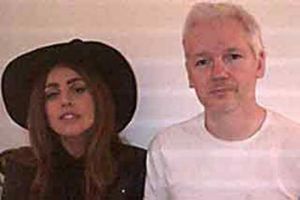 Julian Assange with Lady Gaga - the duo dined together on Sunday evening.