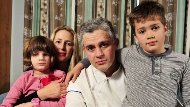 Chef Eric Menard, with his wife Amanda and children Raphael, 8, and Annabelle, 6, has had issues over his superannuation ...