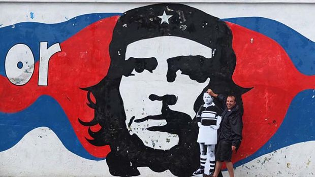 World tour ... Rick Yabsley with Keato's cardboard cutout in Cuba.