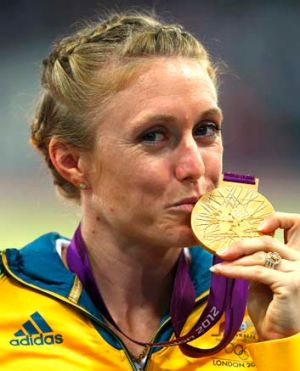 Winner again: Sally Pearson with her gold medal from London.
