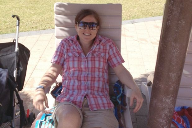 Me on the very comfy sun lounges.