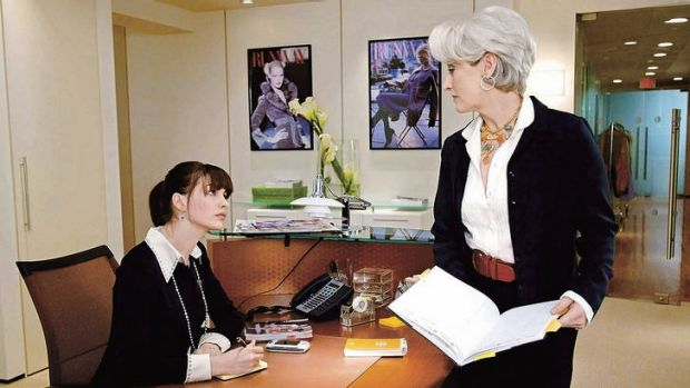 "Master-slave dialectic … Anne Hathaway and Meryl Streep in a scene from 2006's ""The Devil Wears Prada""."