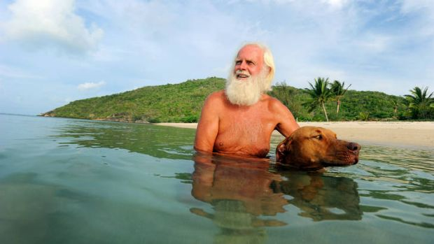 """Man's best friend … David Glasheen with Quasi. """"I am not alone,"""" he says. """"I have a dog."""""""