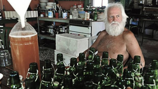 Plenty of bottle … Glasheen makes his own beer, which he trades for fish.