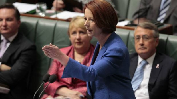 On the front foot ... the Prime Minister, Julia Gillard, in Parliament.