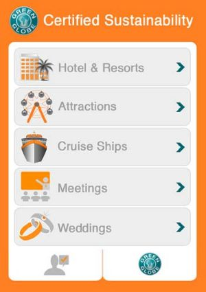Eco-friendly ... a screenshot of the Green Globe app.