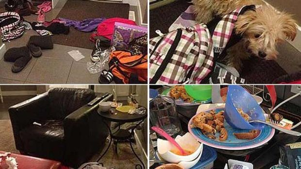 These screen grabs show how the mess was strewn over Jessica Stilwell's house.