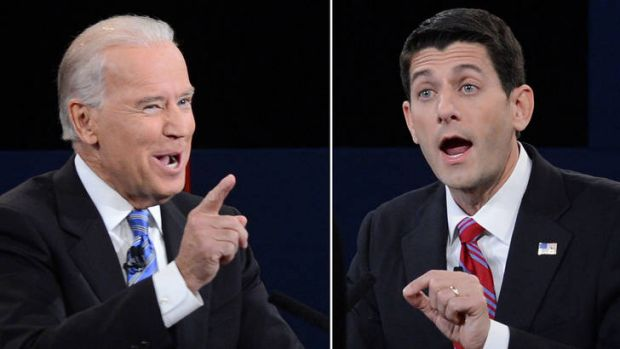 US Vice President Joe Biden (left) and Republican vice presidential candidate Paul Ryan (right).
