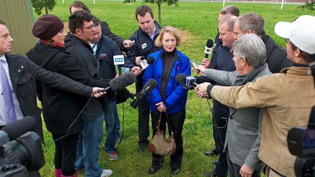 Spotlight on ... Gai Waterhouse deals with the media after trackwork at Flemington this week.