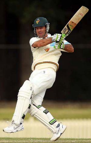 In form: Ricky Ponting on the attack for Tasmania this week.