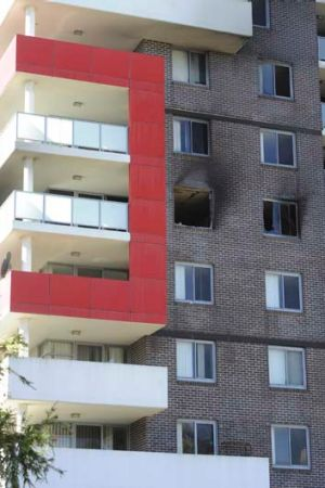 Damaged ... the apartment building ravaged by fire in Bankstown on September 6.