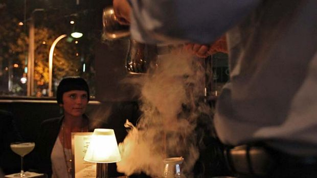 """Liquid nitrogen at The Roosevelt Bar. It is """"used as a method of preparation but there's no nitrogen in the drinks"""" ... ..."""