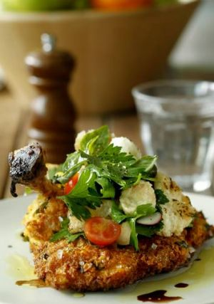 Go-to dish ... chicken Milanese with panzanella salad.