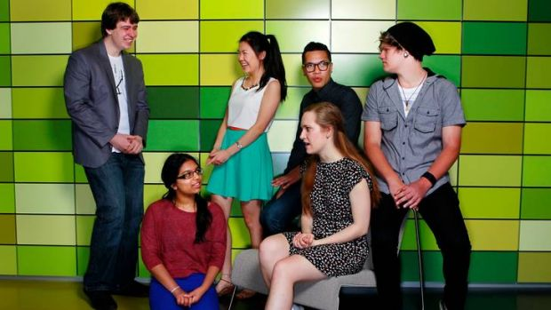 The year 12 club: Hashela Kumarawansa and Clara Haberberger (front), Daniel Schulz, Miranda Zhang, Phillip Kareroa and ...