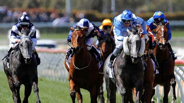 Nicholas Hall takes Instinction to victory in the Weekend Hussler Stakes.