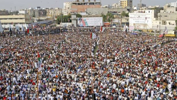 Turning tide ... supporters of the Muttahida Qaumi Movement at the rally in Karachi to condemn the attack on Malala ...