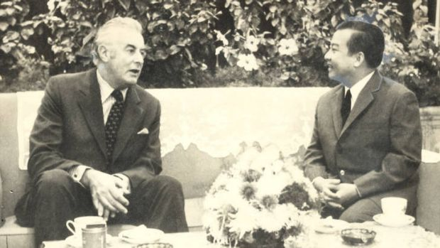 Australian Prime Minister Gough Whitlam meeting Norodom Sihanouk in Beijing in November 1973.