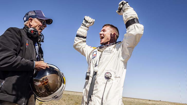 Successful jump ... Felix Baumgartner celebrates.
