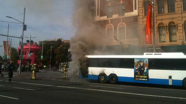 """""""Well alight"""" ... a bus carrying up to 40 people has caught fire"""