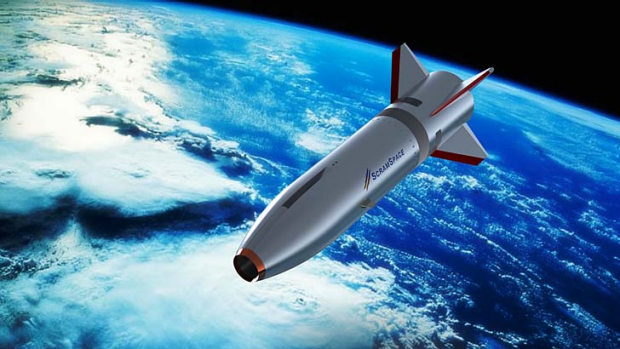 An artists' impression of the University of Queensland's concept for its SCRAMSPACE 1 hypersonic research vehicle.