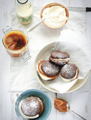 Sweet success … chocolate whoopie pies with salted caramel.