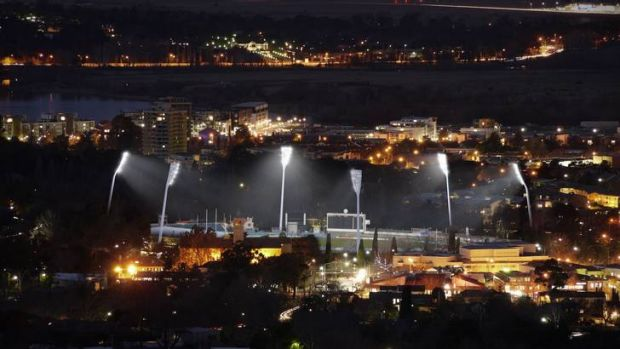 An artists impression of the new lights at Manuka Oval.