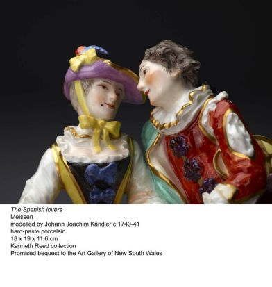 A close up photo of The Spanish Lovers modelled by Johann Joachim Kandler circa 1740-41.