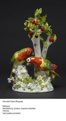 A porcelain sculpture which is part of the Kenneth Reed photogallery. Parrots made with hard paste porcelain. Modelled ...