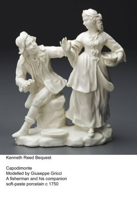"Capodimonte modelled by Giuseppe Gricci called ""A fisherman and his companion"". Made with soft  paste porcelain and ..."