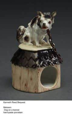"Made by Meissen, ""Dog on a Kennel"" was made using hard paste porcelain."