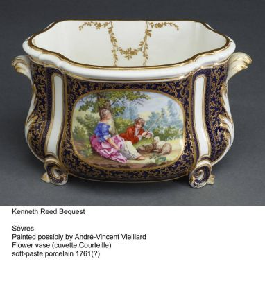 """Flower Vase"" or ""Cuvette Courteille"" by Sevres. Painted possibly by Andre-Vincent Vielliard. Made with soft based ..."