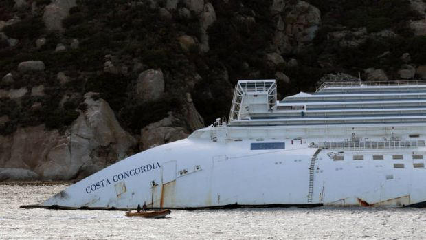 The wreckage of the Costa Concordia still lies next to Giglio Island.