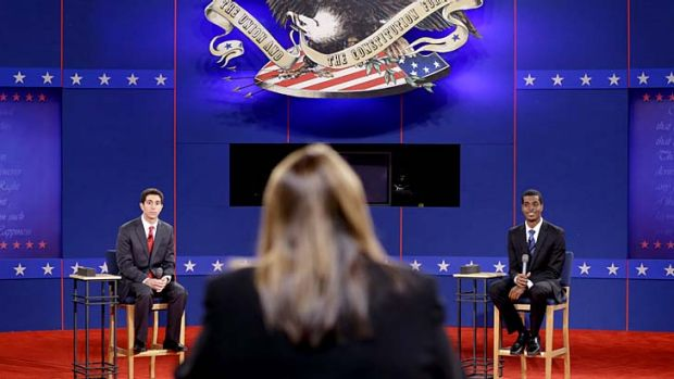 Well prepared ... stand-ins for Republican presidential candidate, Mitt Romney, left, and US President Barack Obama, ...