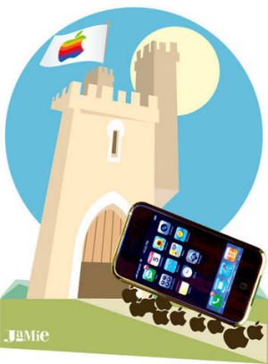 Illustration by Jamie Brown. The iPhone is brought into a big Apple castle by a group of Apple logoes.