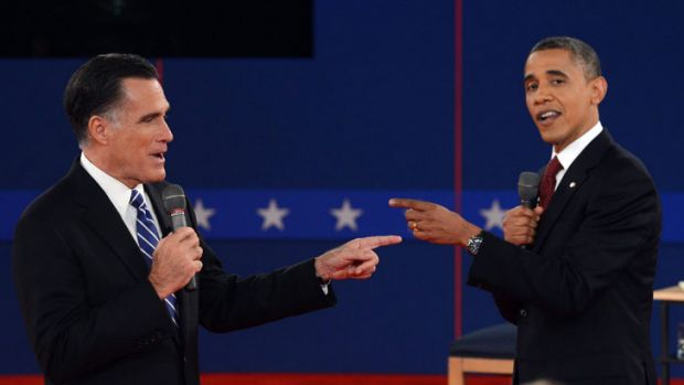 Mitt Romney and Barack Obama clash in the second presidential debate.