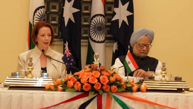 Prime Minister Julia Gillard meets with Indian Prime Minister Manmohan Singh on her official visit.